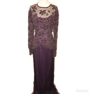 💋Scala 100% Silk Beaded Evening Gown💋Size M